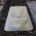 Acrylic 40/60 split sink in Breccia Nouvelle laminate