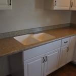 Acrylic 60/40 split sink in Sedona Spirit laminate