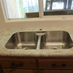 Stainless Steel Double Equal sink in Crema Mascarello laminate